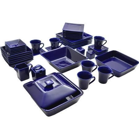 45 Piece Cobalt Dinnerware Set Square Banquet Plates Dishes Kitchen Dinner  #10StrawberryStreet