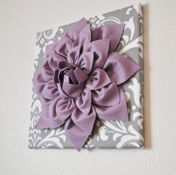 Wall Flower -Lilac Purple Dahlia on Gray and White Damask 12 x12 Canvas Wall Art- Baby Nursery Wall Decor- via Etsy