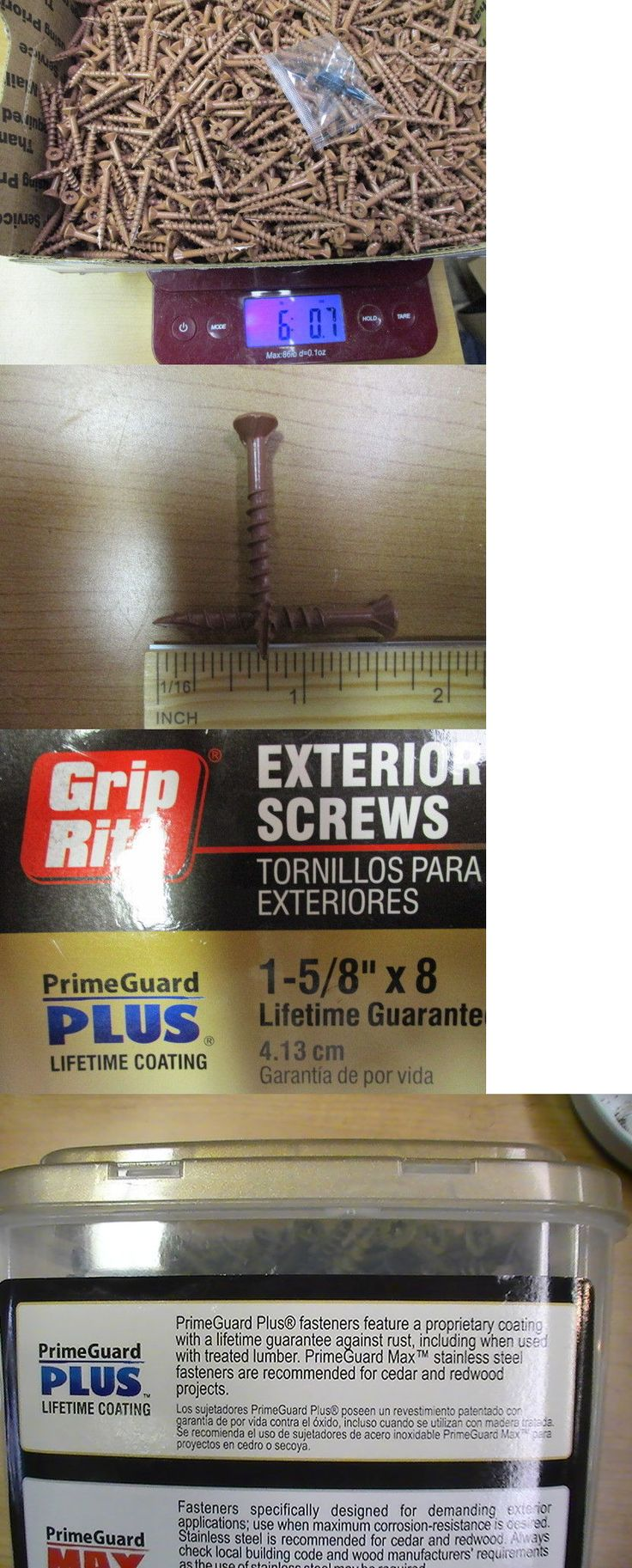 Screws and Bolts 180976: 6 Pounds Grip Rite 1-5 8 Red Deck Screws Exterior Acq Wood. Star Drive,1 Bit -> BUY IT NOW ONLY: $35.95 on eBay!