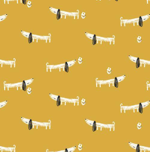 Dashwood Studio Mori Sausage Dogs Fabric by printstopolkadotsuk