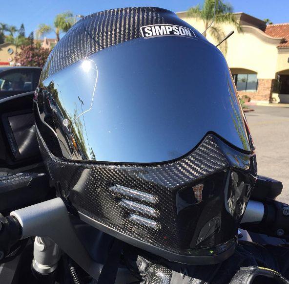 Simpson Ghost Carbon Fiber Helmet on bike