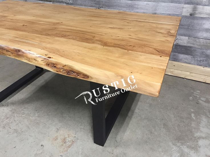Shop The Yosemite Acacia Luxurious Thick Live Edge Solid Wood Dining Table  With Metal U Legs