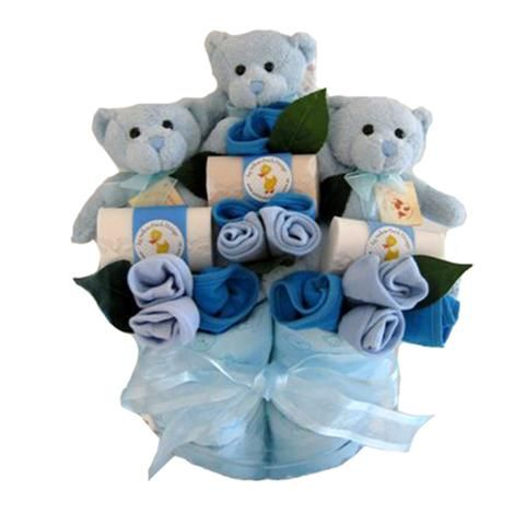 Triplets Cup Cakes, nappy cake for triplets #tripletsbabygifts #babygifts #twinsnappycakes