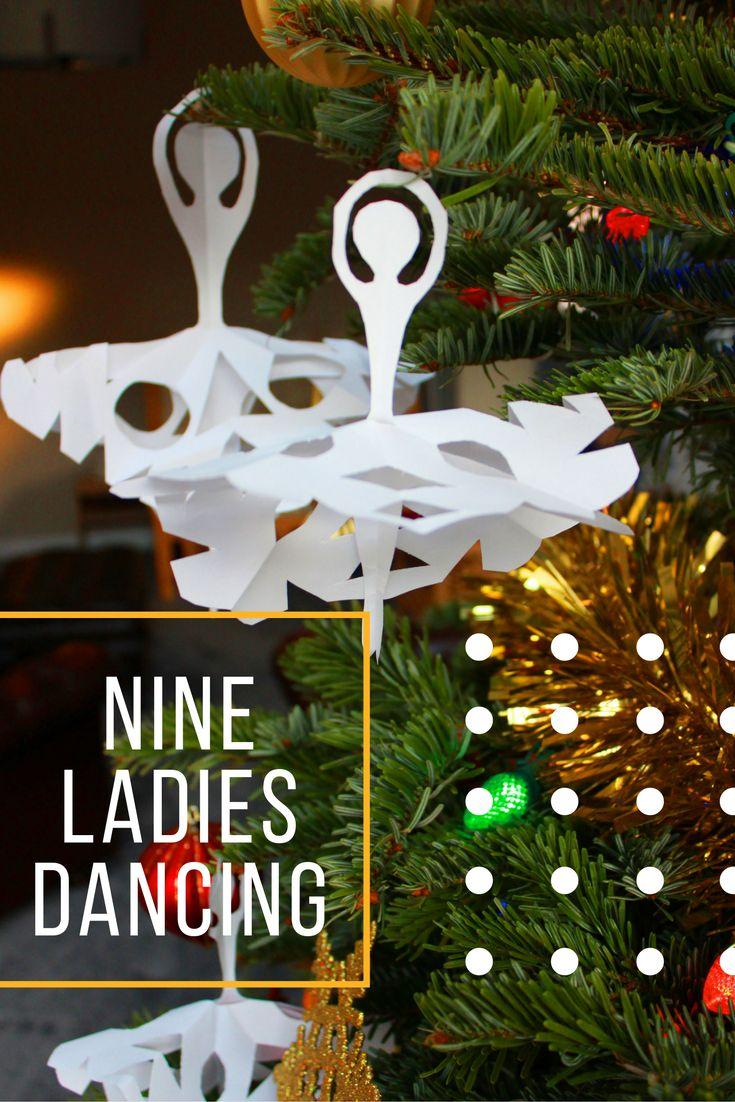 Nine Ladies Dancing 12 Days Of Christmas Paper Craft Paper Christmas Decorations Christmas Paper Crafts Christmas Crafts To Make