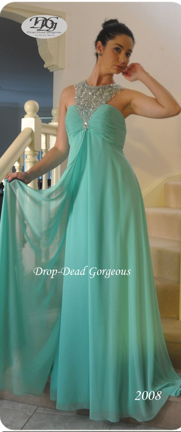 Forever Popular: School Formal and Bridesmaids Dress:  Georgette gown with a triangle beaded neckline and an open low back. #DDGMA #DropDeadGorgeous #MiracleAgency #Schoolformal #Maids  www.miracleagency.net