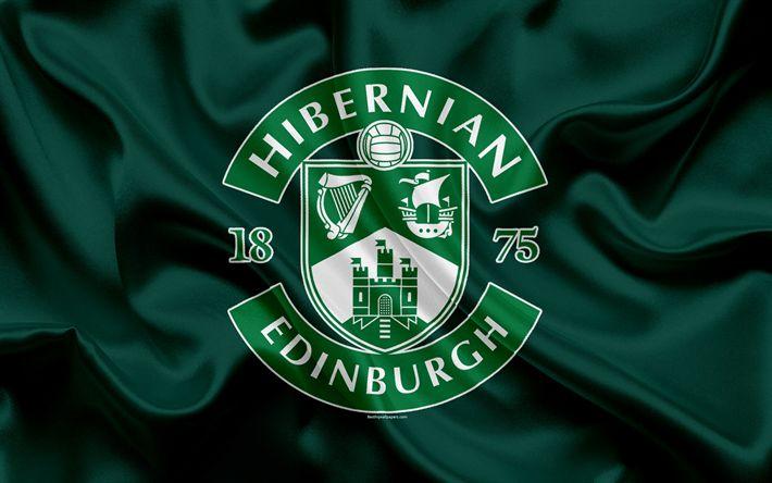 Download wallpapers Hibernian FC, 4K, Scottish Football Club, logo, Hibernian emblem, Scottish Premiership, football, Edinburgh, Scotland, UK, silk flag, Scottish Football Championship