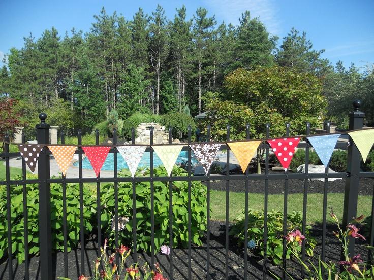 WOODLAND BUNTING - Fabric Flags Banner - Woodland Party - Woodland Decor, Room/Nursery Decor, Photo Prop - Spotted MUSHROOM Bunting. $30.00, via Etsy.