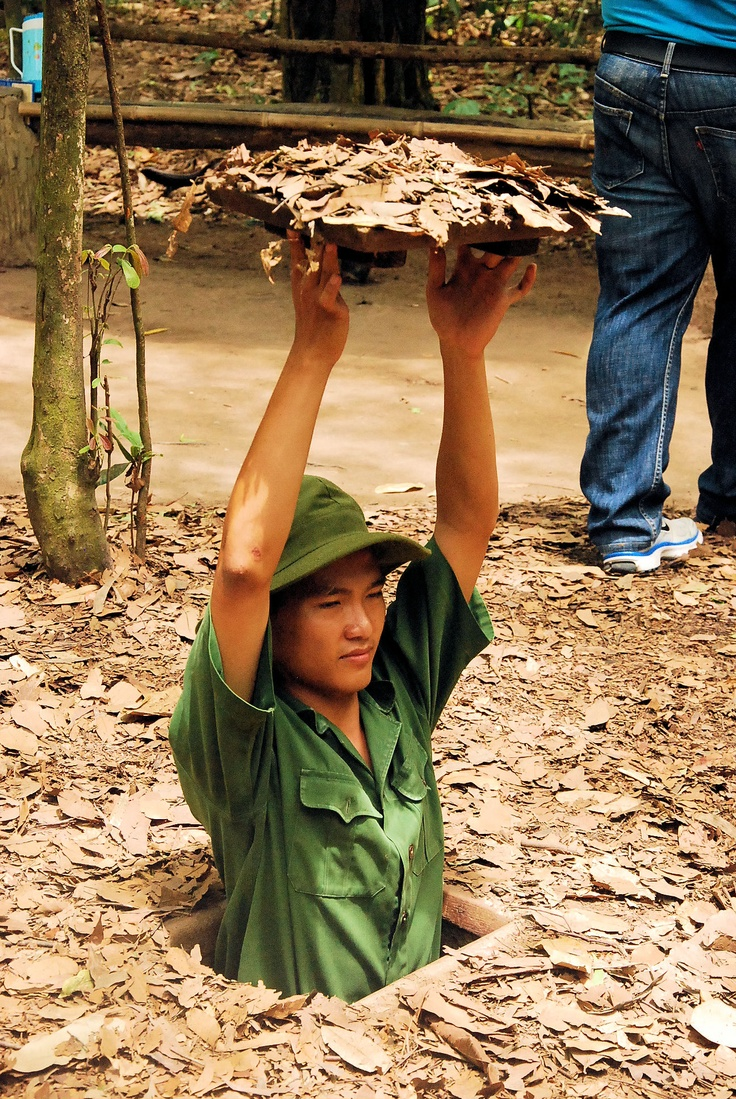 Cu Chi Tunnels   Vietnam. I ALSO went in this tiny hole and crawled through the old Vietcong underground tunnels