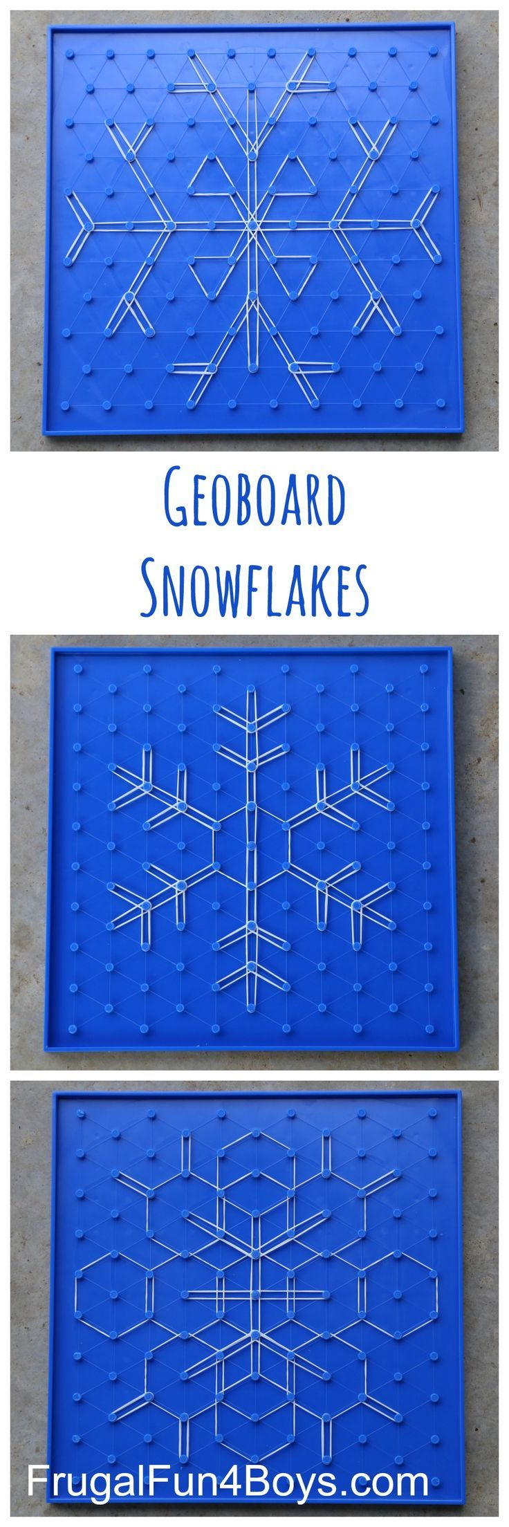 Geoboard Snowflakes - Winter STEM Activity for Kids.  These are so beautiful, and work well for a wide range of ages.  The post has links to the boards and bands we used.                                                                                                                                                                                 More
