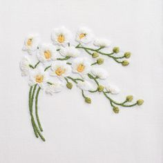 Orchid Spray WhiteHand Towel - White Cotton – Henry Handwork
