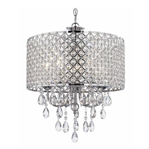 Ashford Classics Lighting Crystal Chrome Chandelier Pendant Light with Crystal Beaded Drum Shade | 2235-26 | Destination Lighting