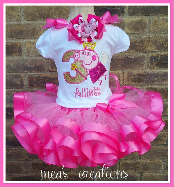 Peppa Pig Inspired Birthday Set, Fairy Peppa Pig Inspired Birthday Set Includes Personalized Top, Ribbon Tutu, and 1 matching Hair Bow