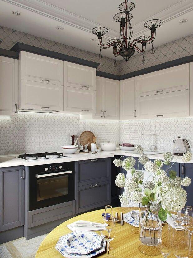 Kitchen, tile, lower grey cabinets, wallpaper