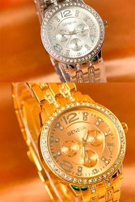 Características: Este reloj Geneva Deluxe Diseño exclusivo. Analógico. Material de caja y correa de acero inoxidable. Incrusctaciones de cristales. Resistente y duradero.