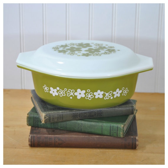 Pyrex Casserole Dish Green Flowers Floral Retro Kitchen Ware MidCentury Decor by PicknThriftAntiques, $17.50