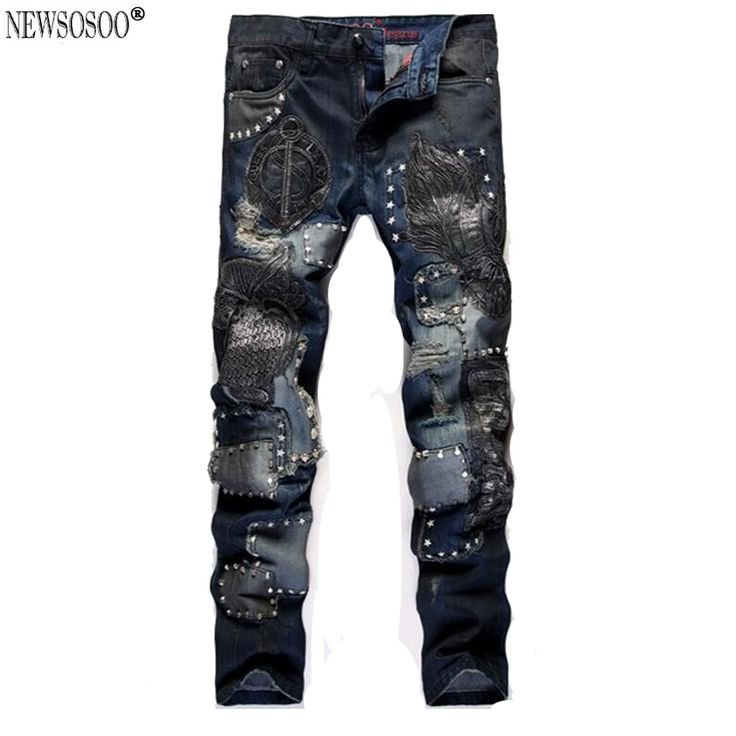 46.96$  Watch now - http://aizt9.worlditems.win/all/product.php?id=32785704095 - Newsosoo Brand men's ripped biker jeans slim fit straight Owl Embroidery jeans male pantalones vaqueros hombre MJ91