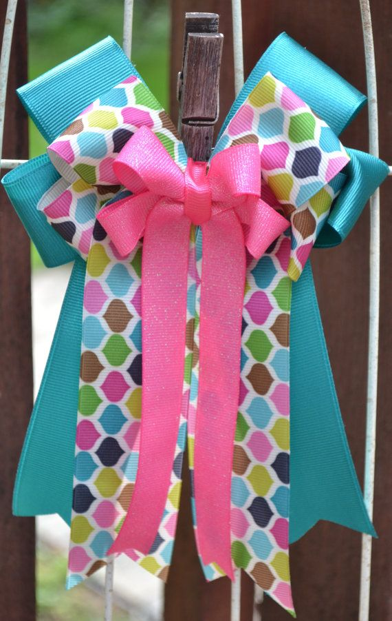 Horse Show Bows- Teal Blue, Multi-colored Pattern, Bright Pink Equestrian Hair Bows on Etsy, $25.00