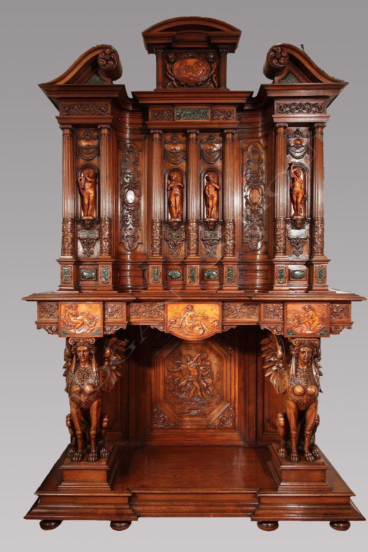 Rare set of twelve victorian solid oak leather antique chairs empire - Exceptionnel Neo Renaissance Cabinet Aux Quatre Saisons By H A Antique Furniturewardrobeparis