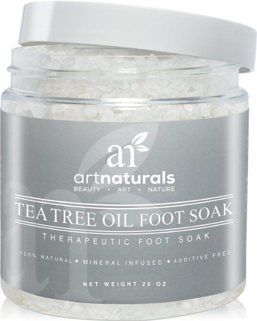 Art Naturals Tea Tree Foot Soak Salt With Epsom Salt 20 oz - Fights Athletes foot and Nail Fungus - Helps to Soften Calluses