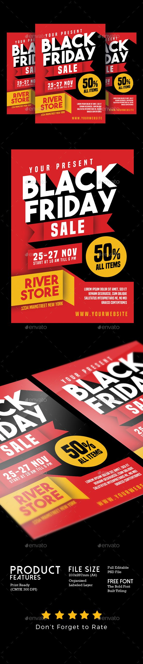#Black #Friday Sale #Flyer - Flyers #Print #Templates Download here: https://graphicriver.net/item/black-friday-sale-flyer/18575747?ref=alena994