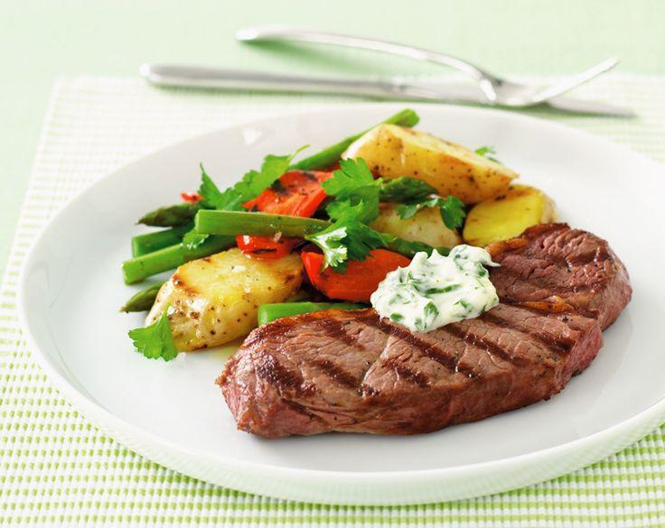 Char-grilled rump steak, potato salad and garlic mayonnaise Recipe | beef   lamb new zealand inc