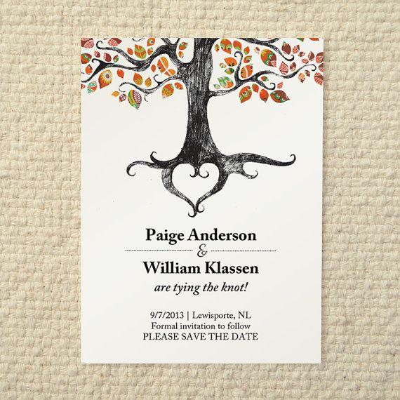 Fall / Autumn Wedding Save-the-Date - Rustic Woodland Tree - DIY Printable PDF Template - Orange on Etsy, $15.00