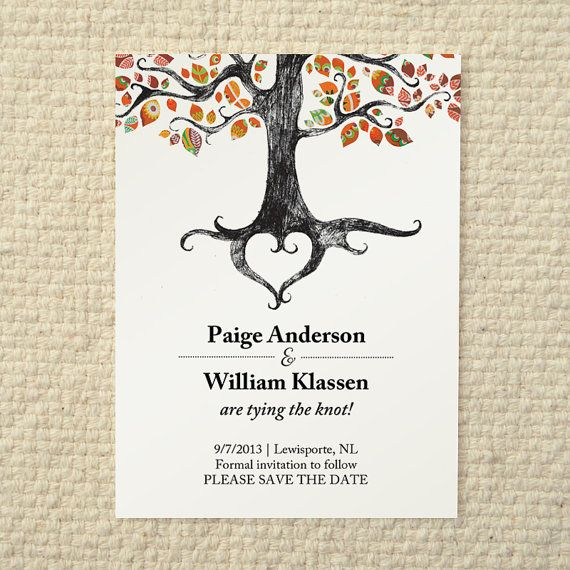 Fall / Autumn Wedding Save-the-Date - Rustic Woodland Tree - DIY Printable PDF Template - Orange on Etsy, $15.00