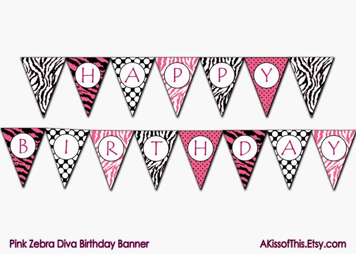 Only Zebra Print Letters A-Z | Pink Zebra Diva Happy Birthday Banner - Printable Party Bunting