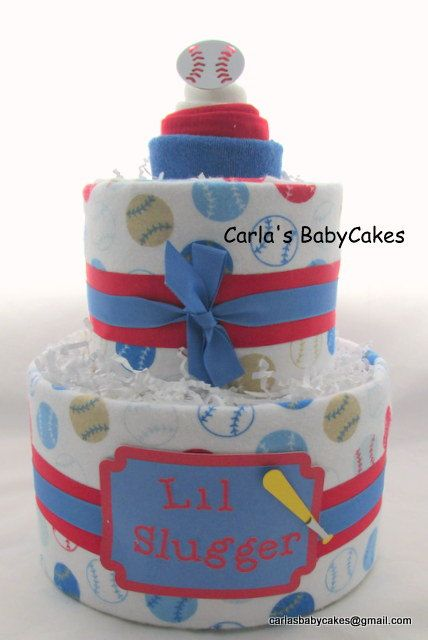 Boy diaper cake | Sports diaper cake | Baby shower gift | Baseball Baby Shower Decoration | New mom gift | Baby Diaper Cake | Baby Boy Gift by MsCarlasBabyCakes on Etsy