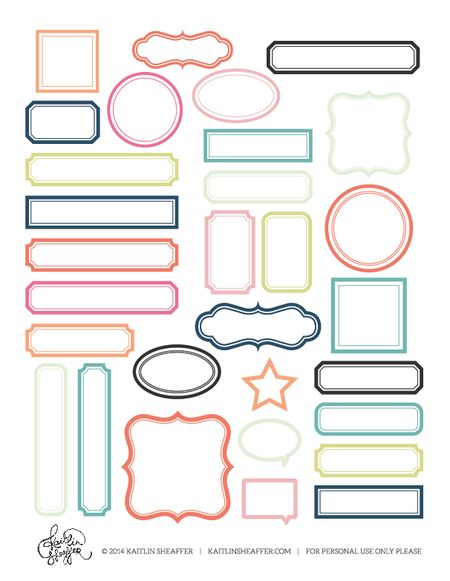 free print and cut printable with frames several color to chose from