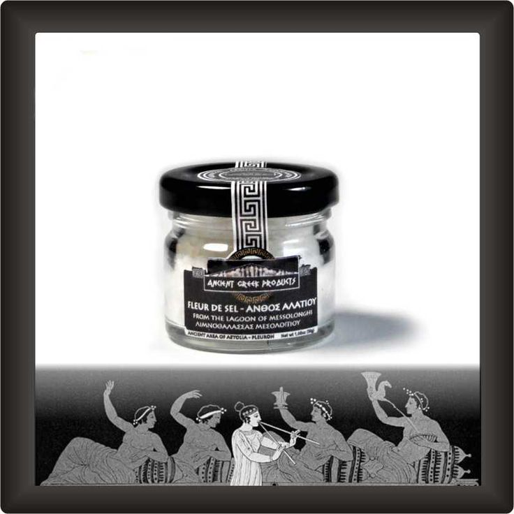 Fleur de Sel -AFRINA, which is the local name- is the salt formed in the salt pans of Messolonghi ..     Glass jar: 30gr - 1.1oz