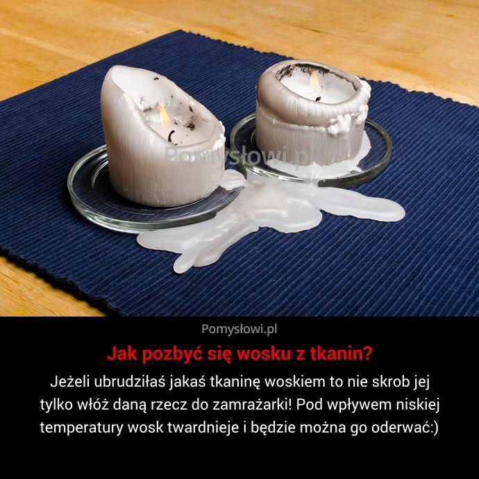 Jeżeli ubrudziłaś jakaś tkaninę woskiem to nie skrob jej tylko włóż daną rzecz do zamrażarki! Pod wpływem niskiej temperatury wosk ...