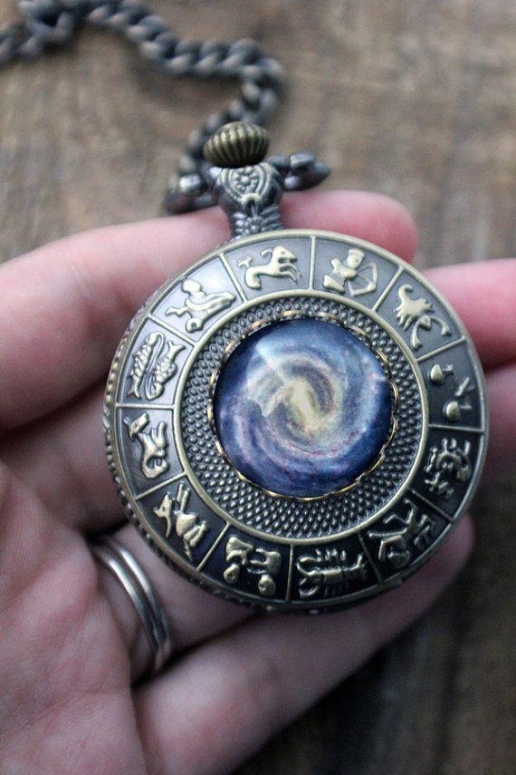 Space Galaxy Pocket Watch - Astrological Zodiac Signs ...