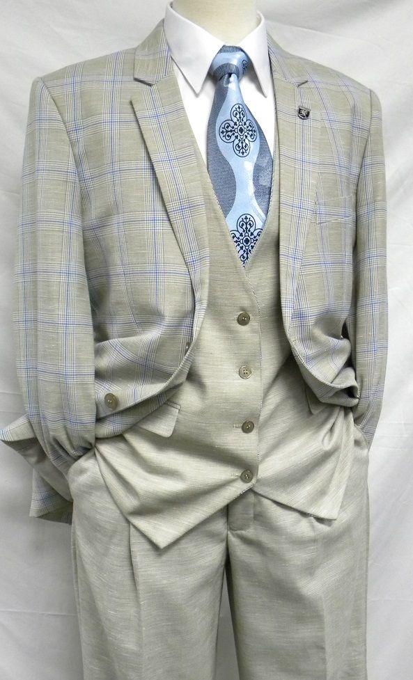 Stacy Adams Khaki Blue Plaid 3 Piece Suit Union Vest 5216-028