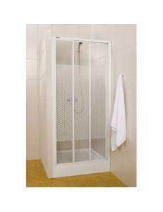 Душевая дверь 110*185 Sanplast DTR,белый, стекло W5 с геометрическим узором
