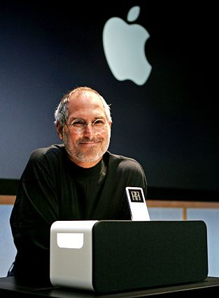 Jobs introduces a speaker system for iPods.