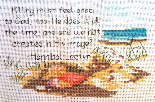 Done! Altered Hannibal cross stitch