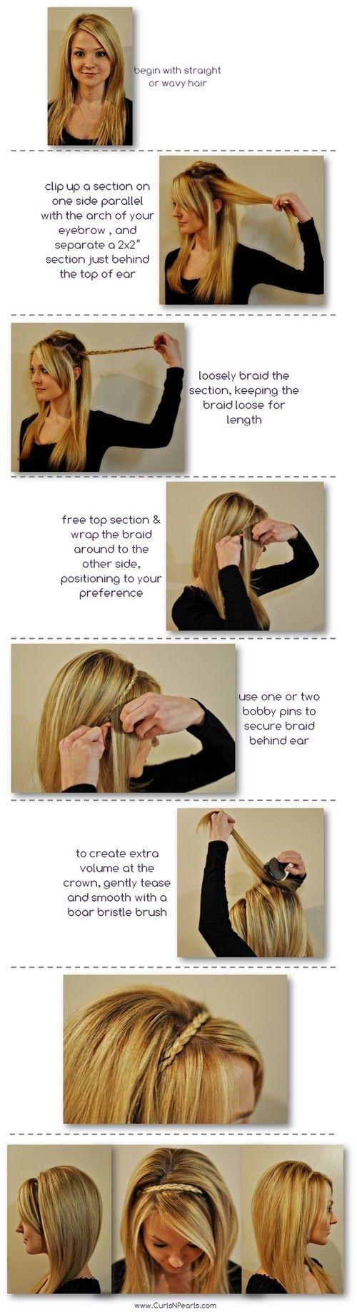 How to do a braided headband.Hair Ideas, Hair Tutorials, Braided Headband, Long Hair, Head Band, Hair Style, Headbands Braids, Braids Headbands, Braids Hair