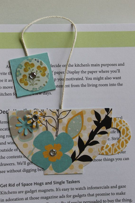 Paper Crafted Teacup Bookmark in Pinks and by TheGreenDoorCottage