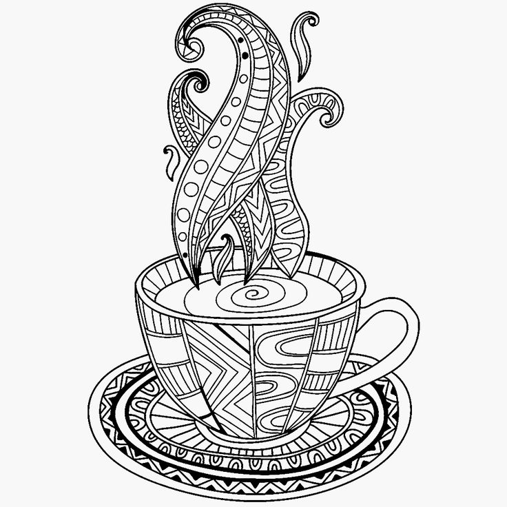 This is an image of Inventive Coffee Cup Coloring Page