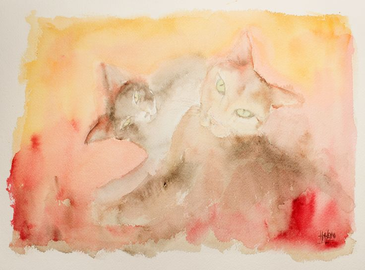 Acuarela interpretada - Esencia gatuna.  Interpreted Watercolour - Feline essence. HMZEN'14