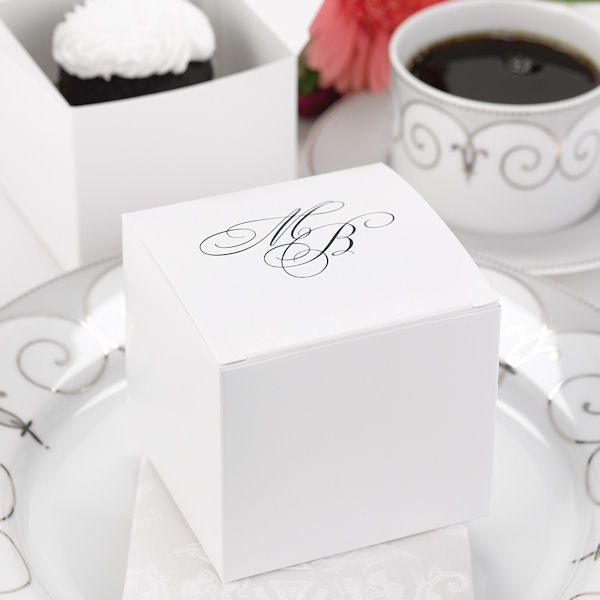 These large white #wedding cake boxes allow your guests to take a sweet treat home with them.  Available personalized as shown for free! Why #DIY when you can have your caterer make your favors :) ?