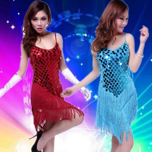 Vrouwen pailletten kwastje latin dans jurk professionele samba latin rok salsa jurken kostuums kleding voor dansen jurk LD007