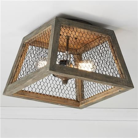 Square Chicken Wire Shade Ceiling Light- for guest room ceiling light