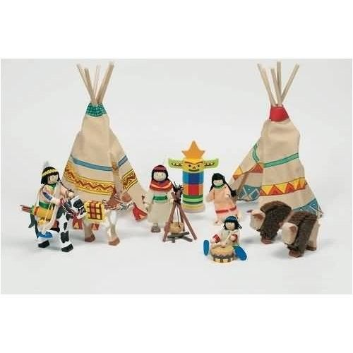 GOKI wooden toy bendy dolls Indian camp set