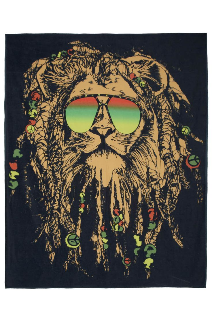 "Brinkley Color Rasta Lion Square Blanket Towel For Two - 100% Cotton - H=60"" x W=70"" - Made in Los Angeles - Care Instructions Machine Wash Cold Tumble Dry Low - Our Style Number 9068-TER-1409"