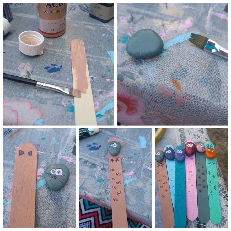 Dondurma ya da doktor çubuğu spatula(eczanelerde satılır) akrilik boya taş ve yapıştırıcı