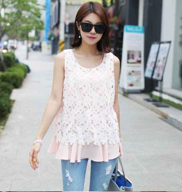 Baju Atasan Wanita Bahan Sifon Brokat Desain Tanpa Lengan B2893