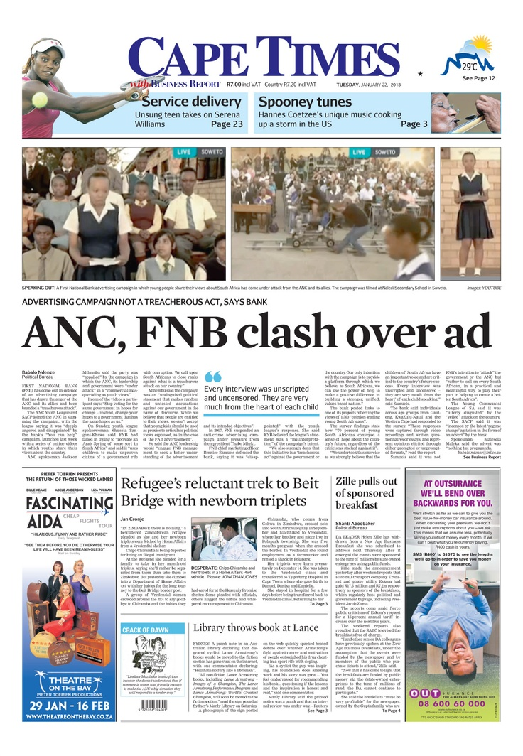 ANC, FNB clash over ad
