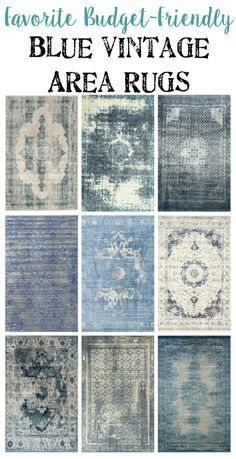 Favorite Budget Friendly Blue Vintage Rugs | blesserhouse.com - I love how all of them are a little bit traditional and a little bit modern all at once! Slightly edgy but still timeless.  I have one in my living room like this from Urban Barn - mad love for it.